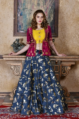 blue embroidered silk blend unstitched lehenga choli