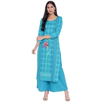 Turquoise printed rayon kurta with palazzo