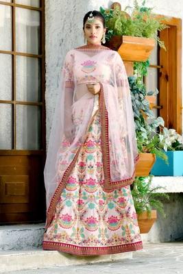 peach embroidered silk blend unstitched lehenga choli