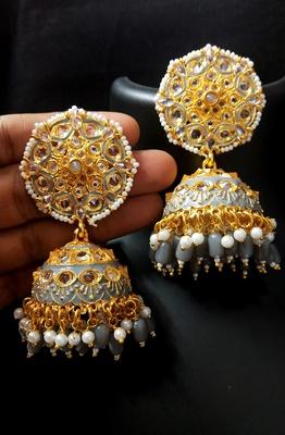 Deepika Inspired Meenakari Grey Pink Kundan Pearl Jhumki Earrings Set
