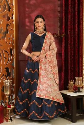 blue embroidered silk blend unstitched lehenga choli