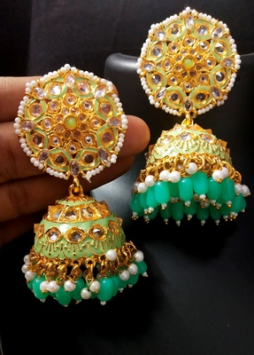 Deepika Inspired Meenakari Green Pink Kundan Pearl Jhumki Earrings Set