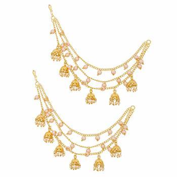 Latest Designer Bahubali Devsena Earcuffs Pearl Jhumi Set