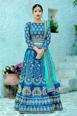 blue embroidered silk blend unstitched bridal lehengas