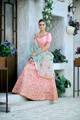 peach embroidered silk blend unstitched bridal lehengas