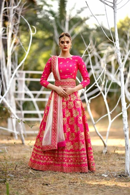 Pink Embroidered Silk Blend Unstitched Bridal Lehengas