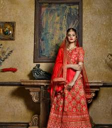 red embroidered silk blend unstitched bridal lehengas