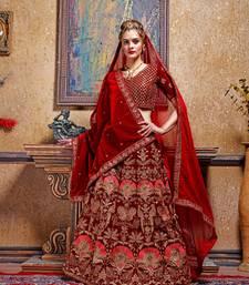 maroon embroidered velvet unstitched bridal lehengas