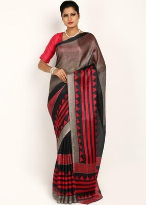 Multicolor Jute Printed Saree With Blouse Piece