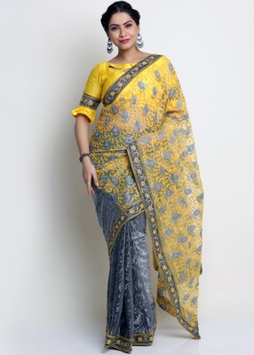 Yellow Knitted, Net Embroidery Saree With Blouse Piece