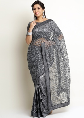 Grey Knitted, Net Embroidery Saree With Blouse Piece