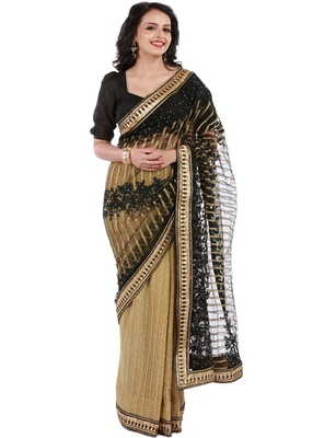 Black & Gold Knitted, Net Embroidery Saree With Blouse Piece