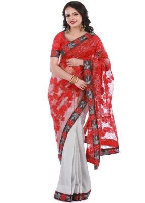 Red & Silver Knitted, Net Embroidery Saree With Blouse Piece