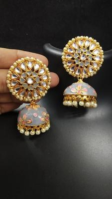 Latest Meenakari Grey Pink Kundan Pearl Jhumki Earrings Set