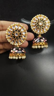 Latest Meenakari Black Pink Kundan Pearl Jhumki Earrings Set