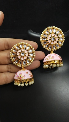Latest Meenakari Magenta Pink Kundan Pearl Jhumki Earrings Set