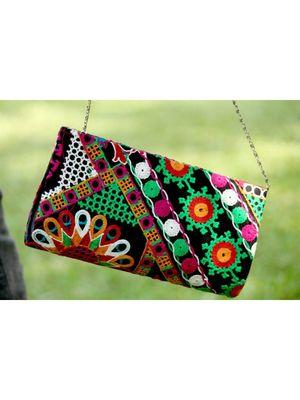 BagzVela Black Base & MultiColor Kutch Embroidered Clutch
