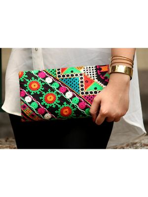 BagzVela Black Base & MultiColor Kutch Embroidered Clutch