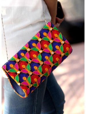 Bagzvela Multicolored Kutch Embroidered Clutch