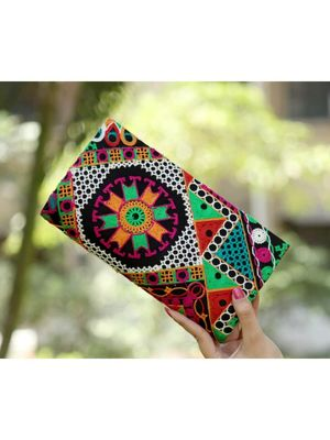 Bagzvela Black Base Multicolored Kutch Embroidered Clutch