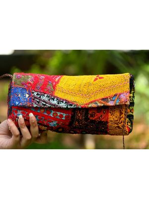 Red & Yellow Color Flap Multicolored Embroidered  Banjara Bags From Rajasthan