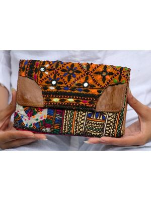 Multicolor Hand Embroidered Banjara Purse With Leather On Flaps From Rajasthan - Pattern 4