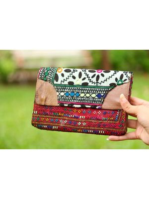 Multicolor Hand Embroidered Banjara Purse With Leather On Flaps From Rajasthan - Pattern 5