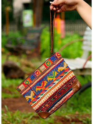 Multicolor Hand Embroidered Banjara Zip Pouches With Leather On Flaps From Rajasthan -Pattern1