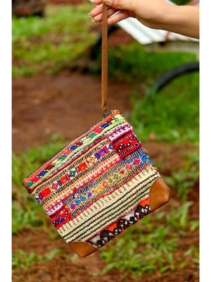 Multicolored      Leather pattern     Zip Purse     Colorful hand embroidered     Length -8 Inches     Width-10 Inches
