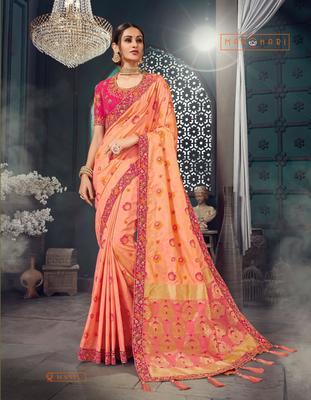 Peach woven bhagalpuri silk saree with blouse