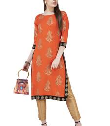 Orange printed rayon combo-kurtis