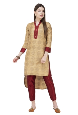 Antique-gold printed art silk combo-kurtis