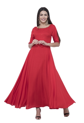 Red plain rayon long-kurtis