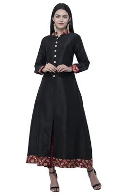 Black printed art silk long-kurtis