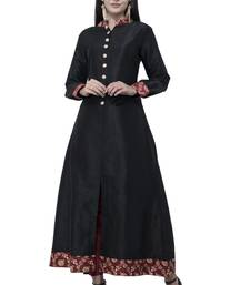 Black printed art silk long-kurtis