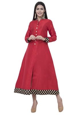 Red printed art silk long-kurtis