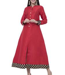 Red printed art silk long-kurtis