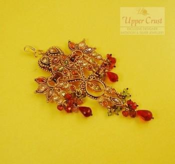 Polki Multi Red Drops Gold Plated Passa Side Tikka Jhoomer