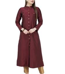 Mahroon plain Art silk Kurtis
