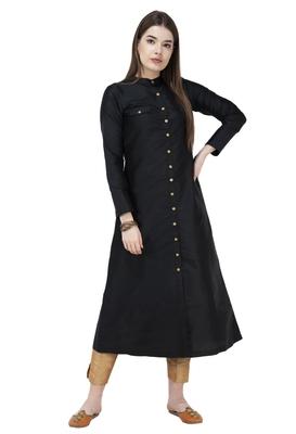 Black plain polyester silk-kurtis
