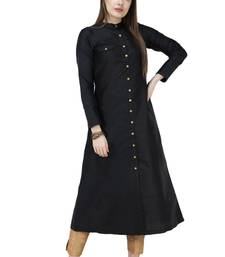 Black plain polyester silk-kurtis