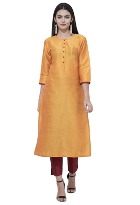 Dark-antique-gold plain art silk combo-kurtis