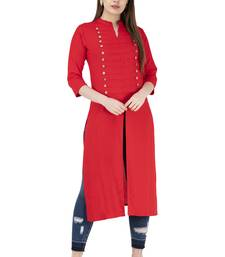 Red plain rayon long-kurtis