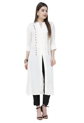 White plain rayon long-kurtis
