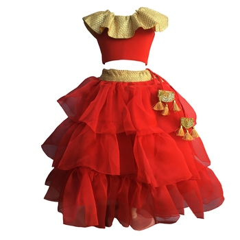Red blouse ,Frill tissue three layered Lehenga ,indowestern,designer Lehenha choli  without chunni