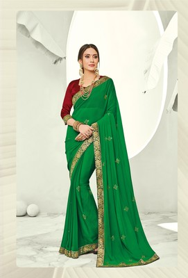 Green embroidered pure chiffon saree with blouse