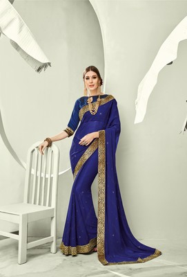 Blue embroidered pure chiffon saree with blouse