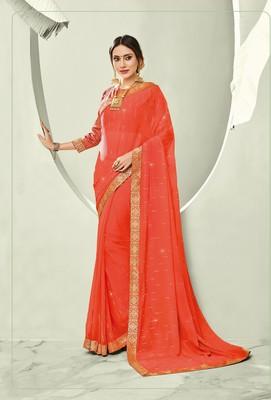 Orange embroidered pure chiffon saree with blouse