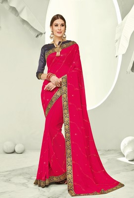 Pink embroidered pure chiffon saree with blouse