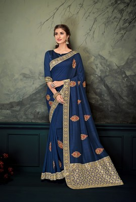 Dark blue embroidered poly silk saree with blouse